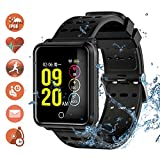 Tagobee TB06 IP68 a prueba de agua Smart Watch HD Touch Screen fitness tracker soporte de presión arterial frecuencia cardíaca Sleep Monitoring contador de pasos compatible con Android y iOS (Negro 2)