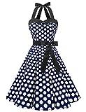 Dressystar, abito vintage a pois, stile rockabilly, anni '50, anni '60, con allacciatura al collo blu navy/bianco a pois XS