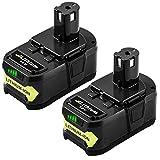 [2 Pack] Hochstern 5.0Ah/5000mAh remplacement de batterie pour Ryobi 18V ONE + RB18L50 RB18L40 RB18L25 P108 P107 P104 P105 P106 P102 P103 Outils Sans Fil avec indicateur à LED