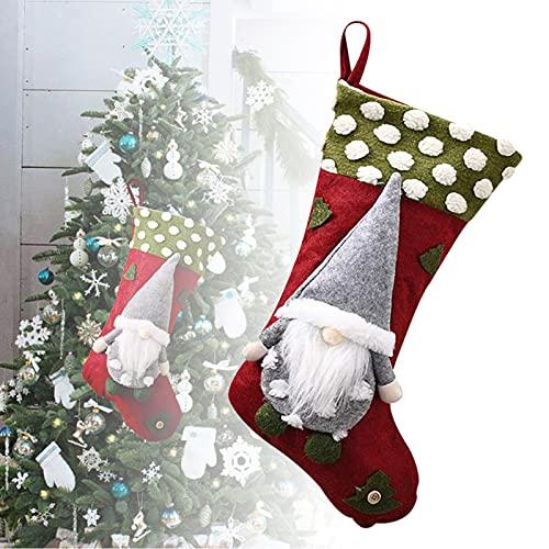 GOUDANER CalcetíN NavideñO,Christmas Stocking,Bolsa De Regalo De Saco De Navidad para La DecoracióN del áRbol CalcetíN De DecoracióN NavideñA para Llenar Y Colgar,Dulces con Papá Noel
