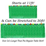 Hawaiian Table Skirt 11ft Long Stretches to 30ft! | (29' Tall) Green Hibiscus Luau Party Decoration | Tropical Theme Decor (1 Table Skirt)