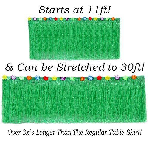 """Hawaiian Table Skirt 11ft Long Stretches to 30ft! 