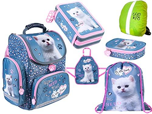 My Little Friend Schulranzen 6 Teile Set ergonomischer Ranzen Federmappe Stiftetasche Sammelbox Turnbeutel Malschürze Kinder Katze rosa Schulset