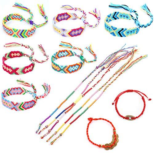 YuChiSX Handgemaakte Geweven Armband Vriendschap Armband Vriendschapskoorden Strandarmband Geweven Vriendschapsarmband Draadarmbanden Meerkleurig Gevlochten Handgemaakte Gevlochten Armbanden
