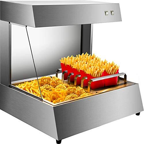 BuoQua Chauffe-Frites HCW-8 750W, Chauffe Frites Électrique Professionnel 31 kg, Acier inoxydable, Pont Chauffant Thermique Infrarouge, pour conserver vos aliments frits/tels que les frites/les pizzas