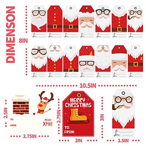 KIDPAR 420 PCS Christmas Gift Tags Self-Adhesive Stickers for Festival Presents, Wrapping Paper and Gift Bags Holiday Decorative Labels Decals