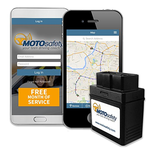 MOTOsafety MPAAS1P1 OBD GPS Vehicle Tracker Device with Phone App, One Month of Service Included