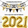 Graduation Decorations 2021 Kit - 45pc - Black & Gold Graduation Party Supplies 2021 Balloons, Props, Banner, PomPoms, Swirls Decor - Full 2021 Grad Party Value Pack for the Graduate #2