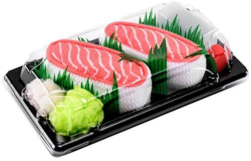 Sushi Socks Box - 1 paire de Sushi CHAUSSETTES en Coton pour Fammes et Hommes, Saumon, 36/40
