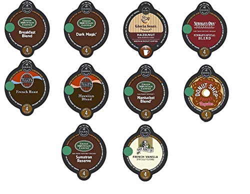 30 Count - Variety Vue Cup Coffee for Keurig Vue Brewers - (No decaf, 10 flavors, 3 Vue cups each)