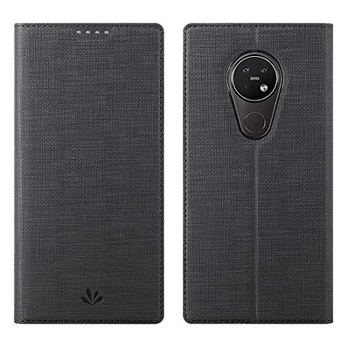Nokia 7.2/Nokia 6.2 Hülle Hülle,Leder Geldbörse Tasche mit [Kickstand][Kartenhalter][ID Holder][TPU Bumper] Stoßfest Schutzbrieftasche Stoßfest Flip Tasche Handyhülle für Nokia 7.2/Nokia 6.2,schwarz