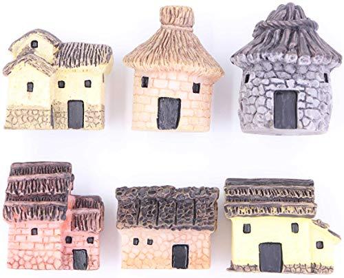 LeBeila Miniature Fairy Garden Stone Houses, 6 Mini Cottage House Miniatures Decor Accessories Fairies Gardening Decoration Statues Kit For Outdoor Patio Micro Landscape Yard Bonsai Decal Gifts (6PCS)