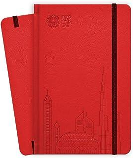 دفتر اكسبو 2020 دبي بحجم A5 بتصميم سماء دبي باللون الاحمر، 13.5 × 21 × 1.4 سم