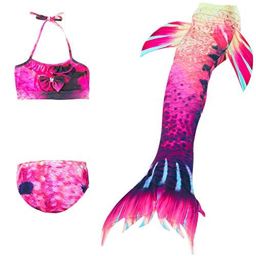 YDS SHOP meisjes zeemeerminstaart badpak - prinses cosplay badmode voor het zwemmen met bikini-set, 3-delige set (kleur: 13, maat: 120)
