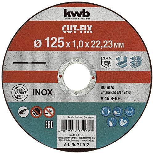 KWB 49711922 Pack Discos extrafinos Cut-Fix, 125 x 1 mm, Set de 10 Piezas