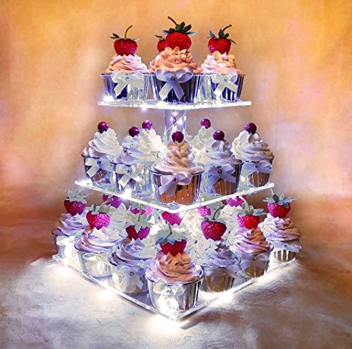 Hexnub 3 Etagen Acryl Cupcake Stand Erleuchte Kuchen und Dessert Quadrat Display Servier Turm mit LED Lichter für Hochzeitsparties Geburtstag Babyparties Nachmittag Tee (Weiß)