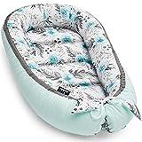 JUKKI® Reducteur de lit bebe, 50x90 cm, Nid pour nouveau-né nourrisson, Baby nest, Cocon de Sommeil pour baby de 0-9 mois, Cocon bebe, Coussin pour bébé, 100% Coton, anti-allergique: In Garden Mint