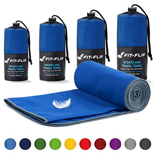 Fit-Flip Reisehandtuch Set – 18 Farben, viele Größen – Ultra leicht & kompakt – das perfekte Fitness Handtuch, Strandliegenhandtuch und Trekking Handtuch (70x140cm, Dunkelblau - Grau)
