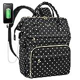 Laptop Backpack for Women Work Laptop Bag Stylish Teacher Backpack Business Computer Bags College Laptop Bookbag, Polka Dots Black
