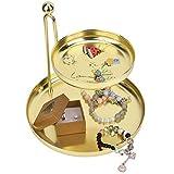 Bandeja para Joyas Organizador de Maquillaje Almacenamiento Estante de pie Pendientes de exhibición de 2 Niveles Anillo Pulsera Reloj Decorativo para Dormitorio Cómoda de Cocina Oro Rosa Dorado