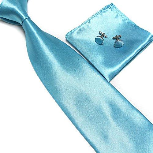 LCN Cravate + Pochette + Bouton de Manchettes Satinée - Bleu Turquoise - Neuf