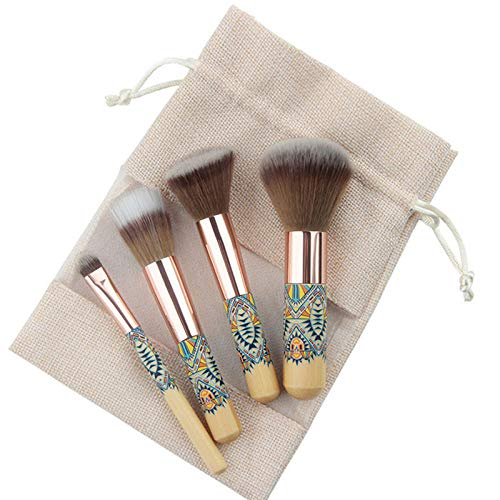 LDLCX Pinceau De Maquillage, 4Pcs Maquillage Pinceau, Manche En Bambou En Bois Sac De Sac Portable Outil Brosse L-245C