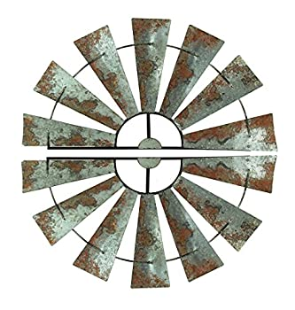 Special T Imports Pair of 30.5 Inch Galvanized Metal Half-Windmill Wall Sculptures Large Rustic Home Decor Country Farmhouse Art Decorations
