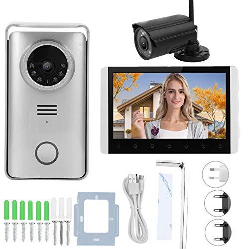 Cámara de seguridad para el hogar 7 pulgadas TFT LCD 2.4G Timbre inalámbrico Intercomunicador Timbre visual Visión nocturna Videoportero con 1 cámara de seguridad(UE 110-240 V)