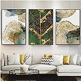 SHKHJBH Pintura Moderna Hoja Dorada Abstracta y Textura del Tronco Arte de la Pared Impresión del Cartel Imagen para la Sala de Estar Decoración del diseño del hogar 3 Piezas 50x70cm sin Marco
