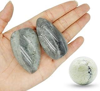 Pierre de paume-2 pièces Pierre de Labradorite, Pierre de lune noire, Pierres Thérapeutiques, pierre d'inquiétude, Paquet ...