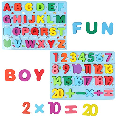 Wooden Puzzles for Toddlers, QZM Wooden Alphabet Number Shape Puzzles Toddler Learning Puzzle Toys for Kids, 3 in 1 Puzzle for Toddlers, Age 3+ (Set of 3)
