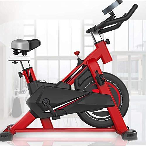 AgByy Cyclette Indoor, con Trasmissione A Cinghia Diretta, Grande Volano, Resistenza All'attrito, Monitor, Manubrio Ergonomico, Sensori di Frequenza Cardiaca, Sedile Regolabile,Rosso