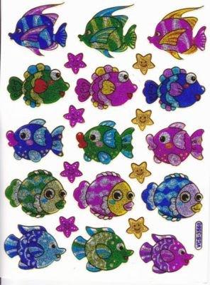 Fische Zierfische Aquarium Sterne Aufkleber 23-teilig 1 Blatt 135 mm x 100 mm Sticker Basteln Kinder Party Metallic-Look