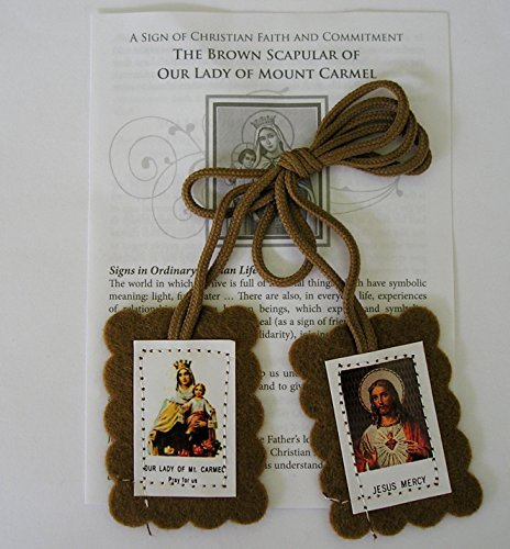 Brown Scapular Our Lady of Mount Carmel and the Sacred Heart of Jesus. by Catholic Gift Shop Ltd