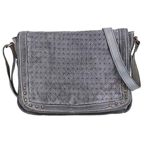 Taschendieb Wien Leder Umhängetasche Crossbag Shoulderbag Seitentasche TD0617, Farbe:Grau