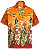 LA LEELA Hawaiien Bouton Plage Chemise d'homme à Manches Courtes imprimé Floral Perroquet Aloha 6XL - Tour de Poitrine (in cms) : 172-178 Citrouille Orange_W358
