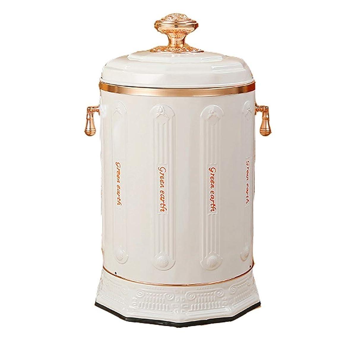 領収書極地拡大するLIRIDP 丸型ゴミ箱ステンレススチール製ゴミ箱リッドレトロ家庭用豪華ゴミ箱屋内用ゴミ箱10L(色:白)