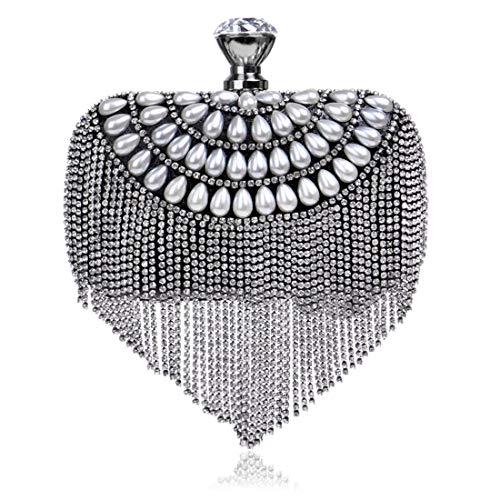 Luckywe Paillettes Cena Borsa Pochette Tracolla Perle di frangia di lusso Signore Partito Catena A80 Nero