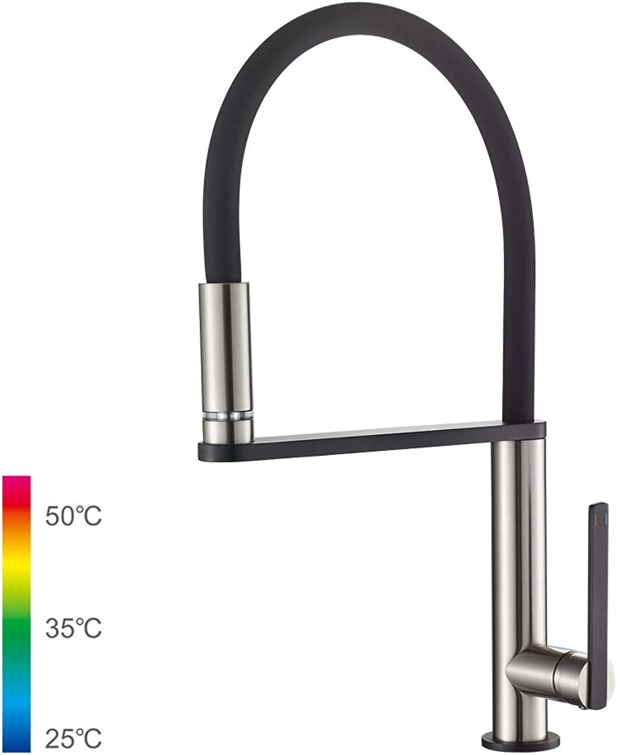 GRIFEMA DOVER-G14002A Pull - Out Kitchen Mixer Taps with Built-in LED Light Spout, 3 8 Inch Hose, Brushed Nickle Black