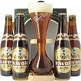 Birra Pawuel Kwak   4 Bottiglie da 33 Cl   1 Bicchieri del Cocchiere da Collezione con Supporto in Legno   Belgian Strong Ale   Brasserie Boosteels   Idea Regalo