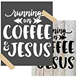 OCCdesign Running on Coffee and Jesus Sign Stencils - Rustic Farmhouse Inspirational Template for Painting Spraying Crafts Décor