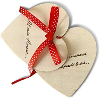 Biglietto auguri Compleanno fidanzato o fidanzata, San Valentino, cuore in legno personalizzato a mano con dedica