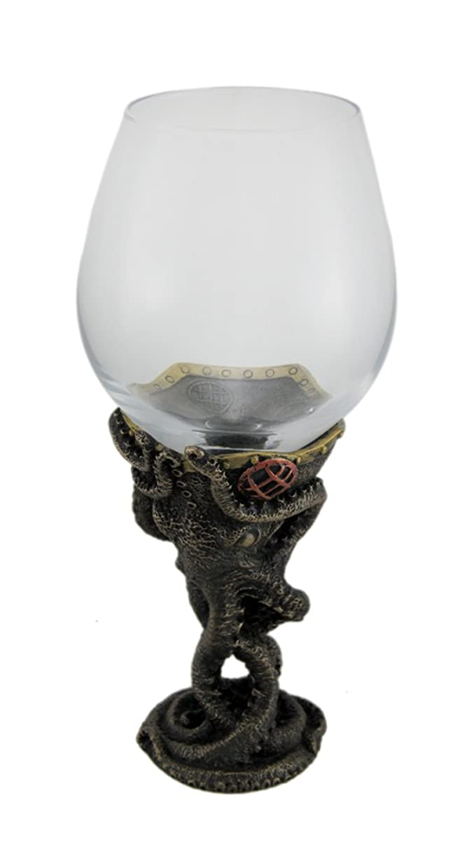 におい闘争アームストロング樹脂とガラスワインメガネブロンズ仕上げスチームパンクDeep Sea Diver Octopusワインガラス3.75?X 23.5?X 3.75インチブロンズモデル# wu77232?a4