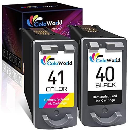 ColoWorld Remanufacturado para Canon PG-40 Negro CL-41 Tricolore Cartuchos de Tinta para Canon Pixma MP150 MP140 MP210 MP460 MP190 MP470 MX310 iP1700 iP2500 iP2200 iP1800 iP1300 Impresora (2Paquete)