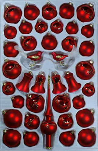 Sortiment mit klingenden Glocken rot glanz matt 39 Teile Christbaumschmuck Weihnachtsschmuck mundgeblasen,handdekoriert Lauschaer Glas das Original