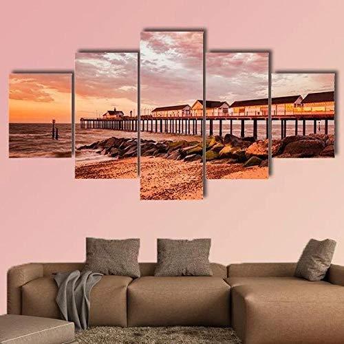 QQQAA Canvas Fotos voor Woonkamer zuidwold pier met oranje hemel Multi Panel Moderne Art Print voor Muren Decoratie Houten Ingelijst Framework Hedendaagse Home Muur Artwork
