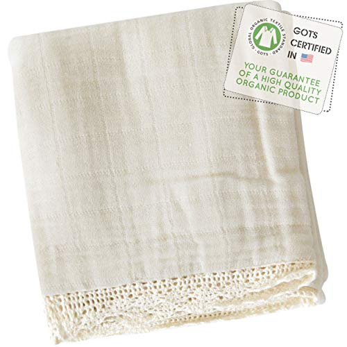 """MakeMake Organics Organic Baby Blanket GOTS Certified Organic Cotton Muslin Blanket Toddler Daycare Bed Blanket Large Size Breathable Hypoallergenic Boys Girls Natural Lace (55""""x45"""")"""
