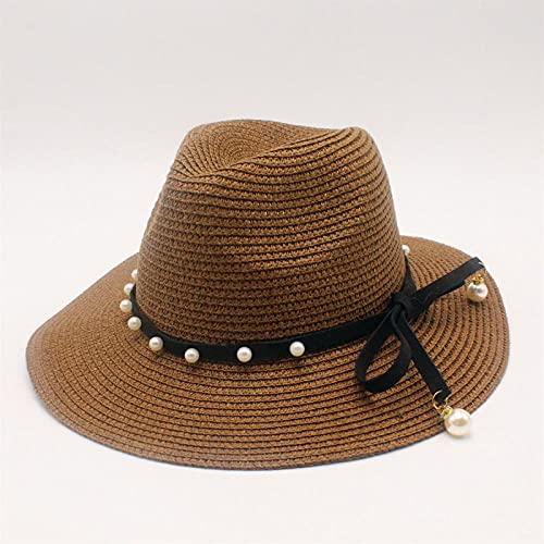 Cappello di Paglia Sole Cappello Woemen Cappelli da Sole Donna Cappello di Paglia Cappello Panama Donna-Marrone_56-58Cm