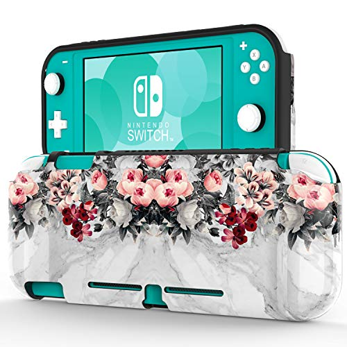 ZADORN Protective Case for Nintendo Switch Lite 2019,Perfect Grip TPU Cover with Designs,Shockproof Game Carrying Travel Case for Nintendo Switch Lite 5.5' Beautiful Flowers Grey Marble