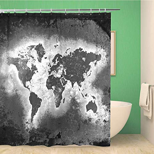Topyee Shower Curtain Earth The World Map Black and White Tones 60x72 Inches Waterproof Polyester Bathroom Decor Curtain Set with Hooks